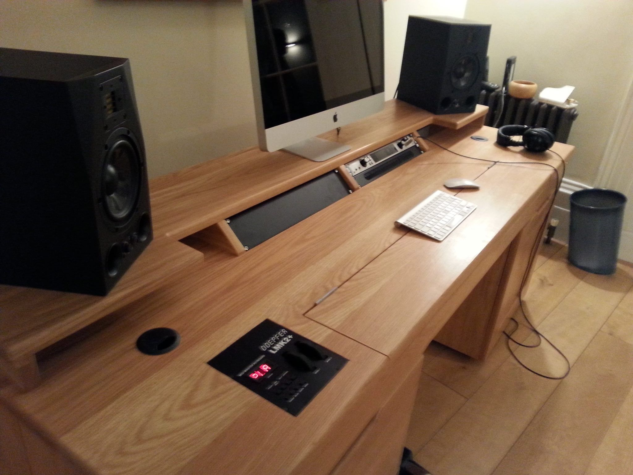 Custom built recording studio desk, built to house Doepfer LMK2+. Real wood  Ash Veneer
