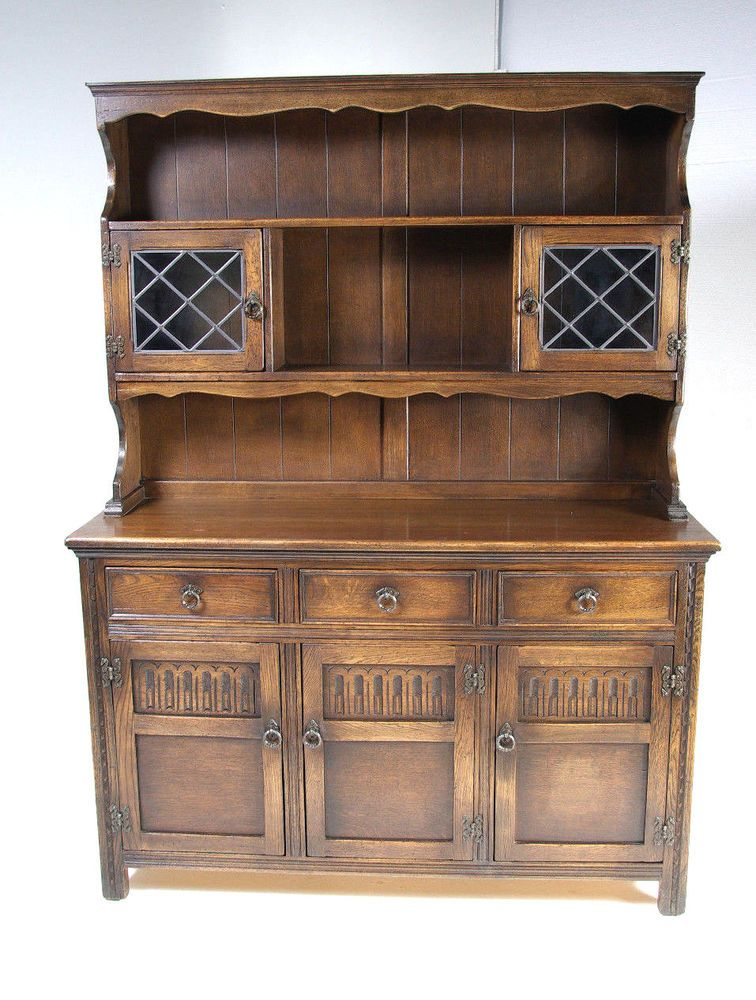Our Item is a Vintage Solid Oak Sideboard, Buffet, Hutch from the It was  built in Scotland and features Solid Oak Construction, Leaded Gla.