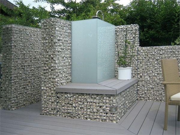 Gabione Garten Gestaltung Steine Gartendusche Design