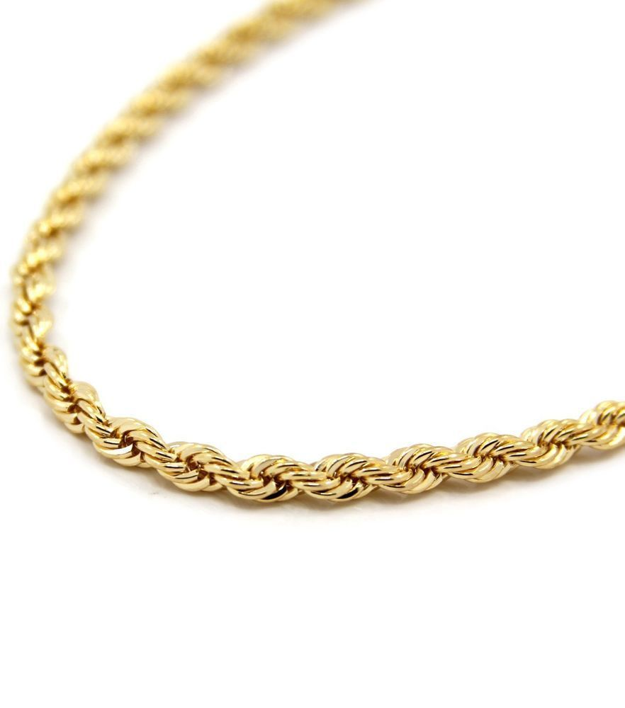 Ladies 16 Inch 9ct Yellow Gold Rope Chain Necklace 6 Grams Gold Chains For Men Gold Rope Chains Gold Chains