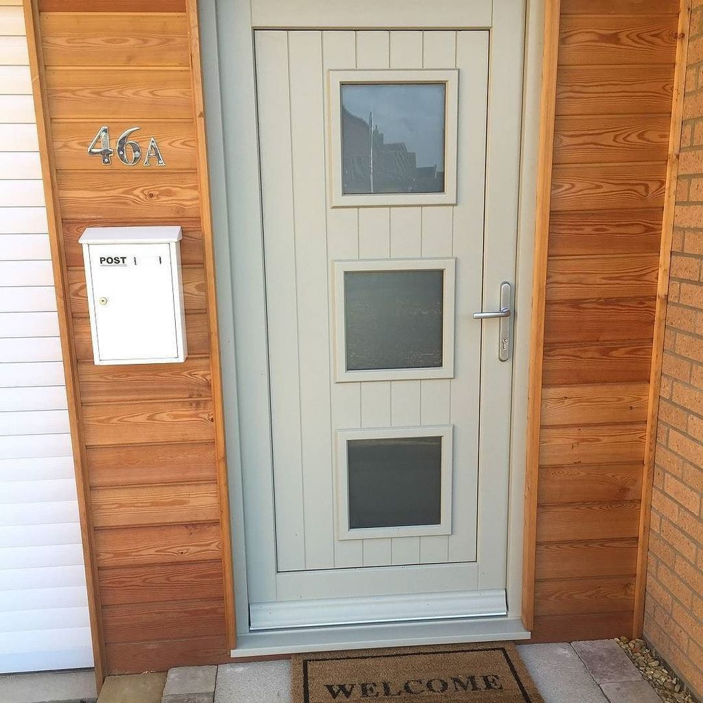 bespoke energy efficient timber front door with obscured glass