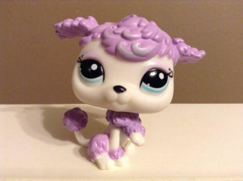 Littlest Pet Shop Dog Poodle Purple White W Blue Eyes 1862 Pet