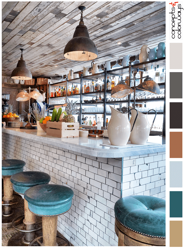 restaurant bar with reclaimed wood and subway tile, color palettes ...