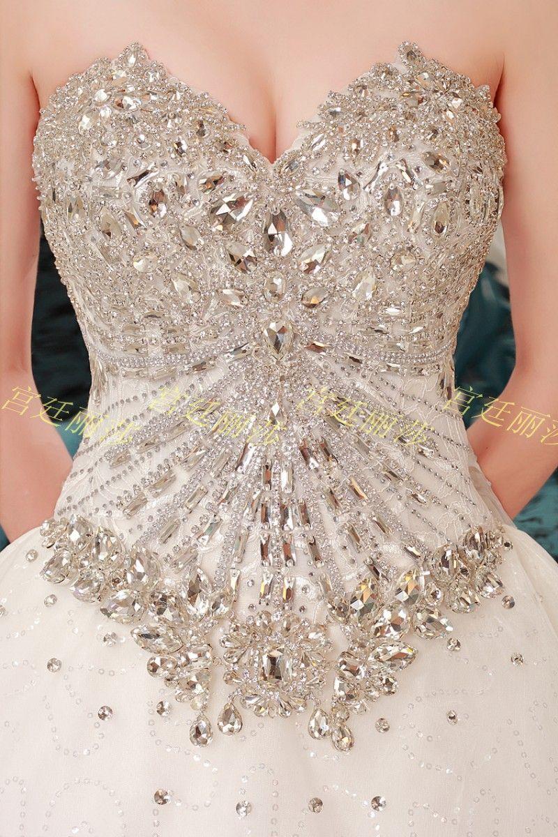 Romantic Diamonds Studded Sweetheart Neckline 1 m Train