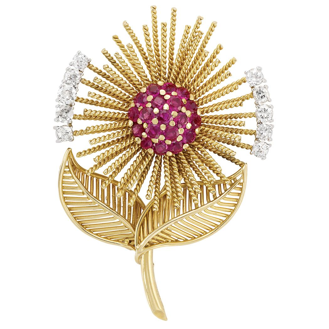 Gold, Platinum, Ruby and Diamond Flower Clip-Brooch, Sanz  Centering a dome of 9 round rubies approximately 2.50 cts., encircled by stylized rope-twist gold wire petals, flanked by 10 old-mine cut diamonds approximately 1.30 cts., with polished gold stem and two gold wire leaves, signed Sanz, with maker's mark and hallmark, circa 1950, approximately 18.8 dwts.