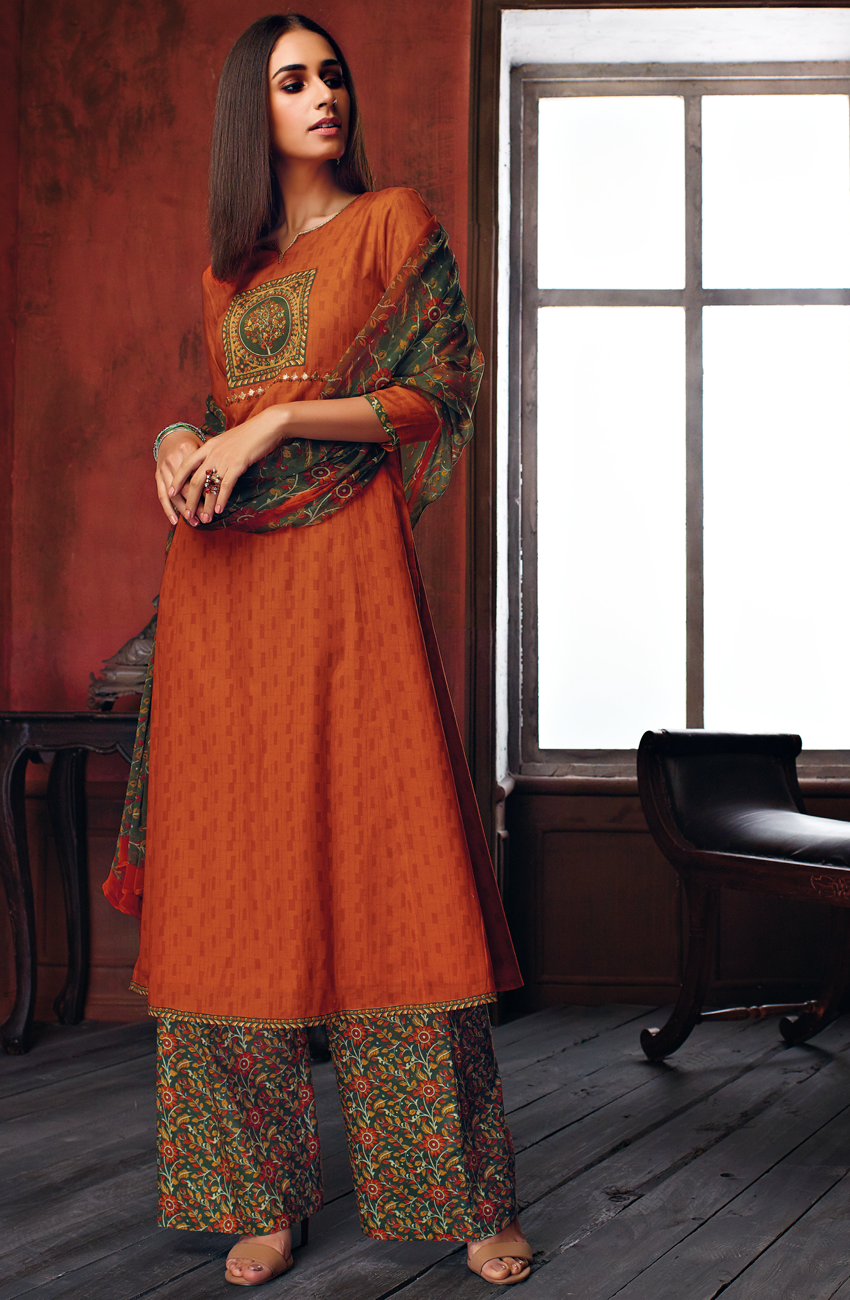 61104a8cc57 Rakhi Special Cotton Floral Print Salwar Suit In Dark Orange - EKA4744