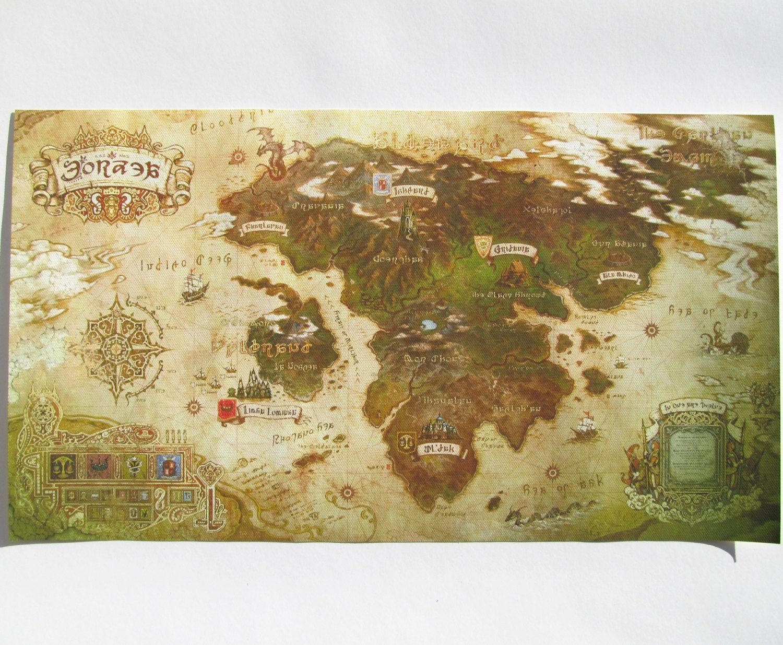 Eorzea Map Map Of Eorzea Eorzea Final Fantasy Cotton Canvas Map