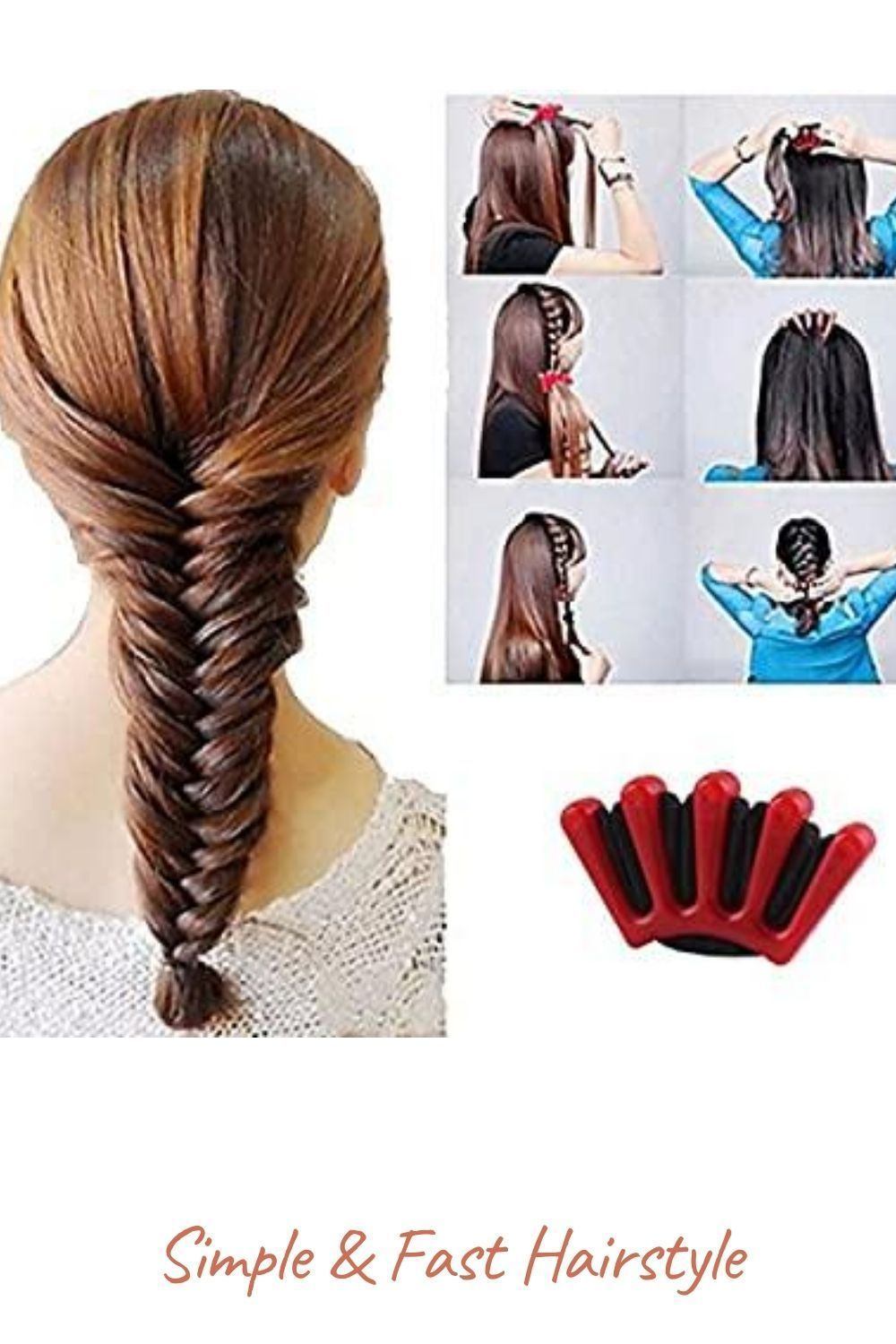 Simple Fast Hairstyle In 2020 Hair Braiding Tool Hair Styles Hair Braider Tool