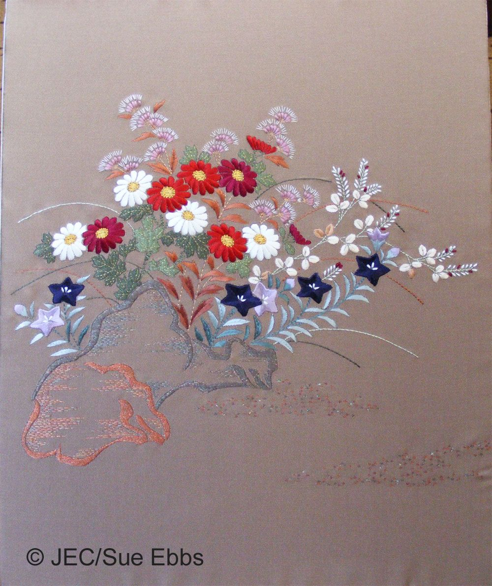 Japanese embroidery autumn flowers embroidery pinterest