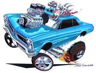 Pontiac Gto Classic Muscle Car Cartoon By Vince Crain High