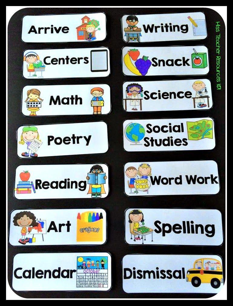 Schedule Cards Editable Classroom Schedule