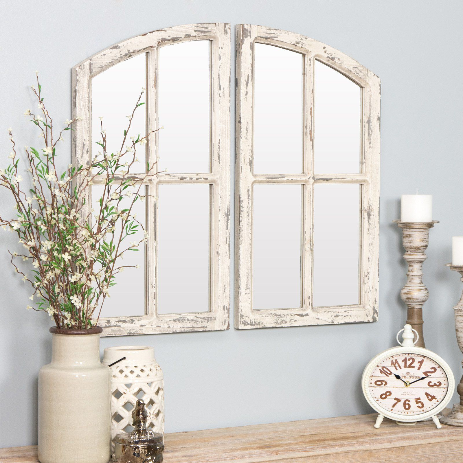 Aspire Home Accents Jolene Arch Window Pane Mirror Set Of 2 15w X 27h In In 2019 Window