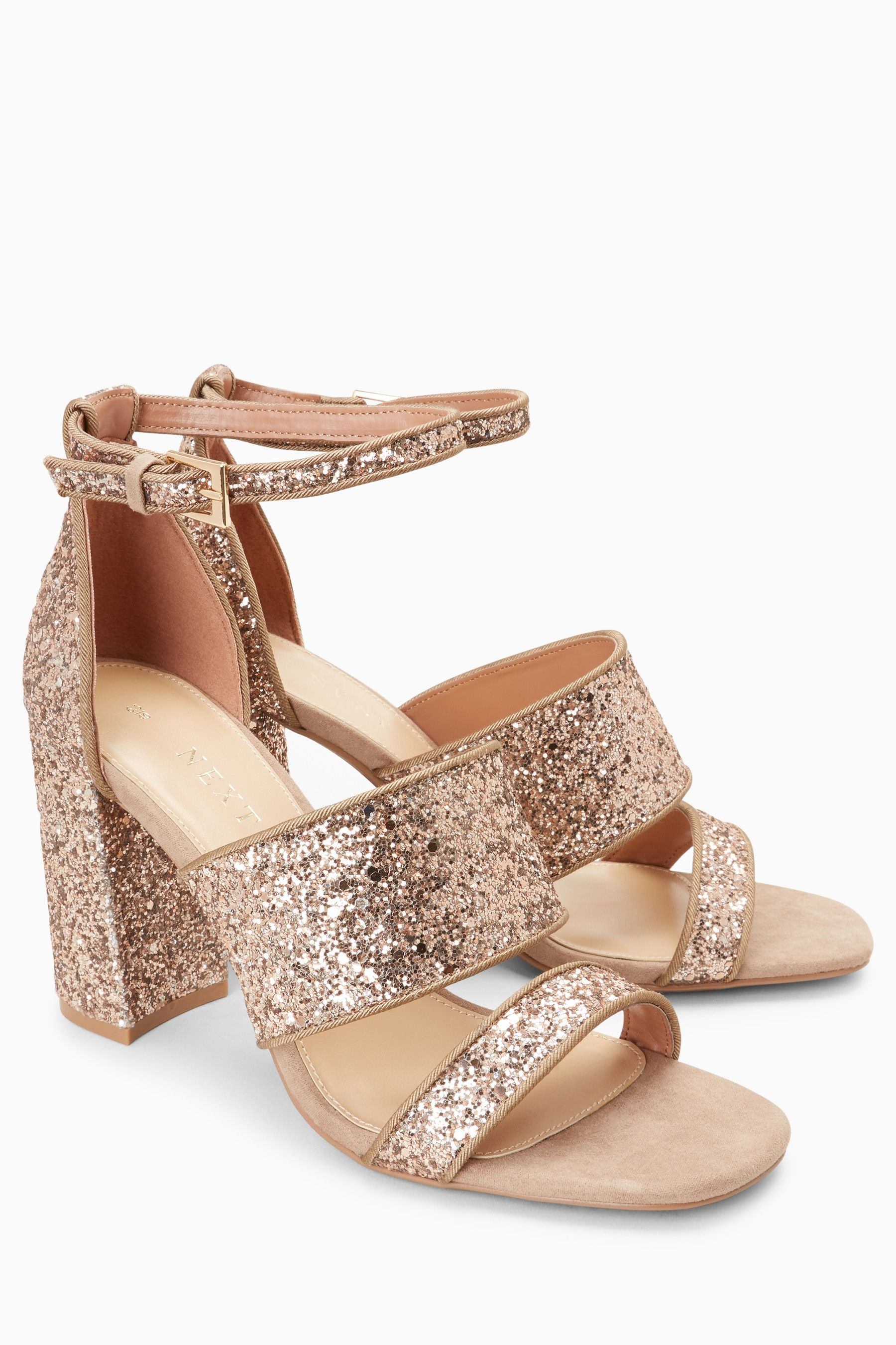 182ba7f94d1f Womens Next Rose Gold Glitter Two Band Sandals - Gold | sandale ...