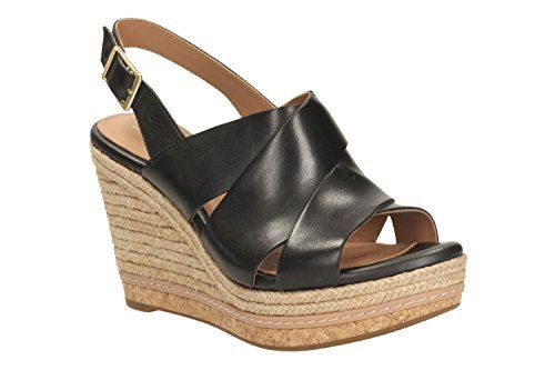 Clarks Amelia Dally Damen Slingback Sandalen mit Keilabsatz, Schwarz (Black  Leather), 41.5 47a7bb0abf
