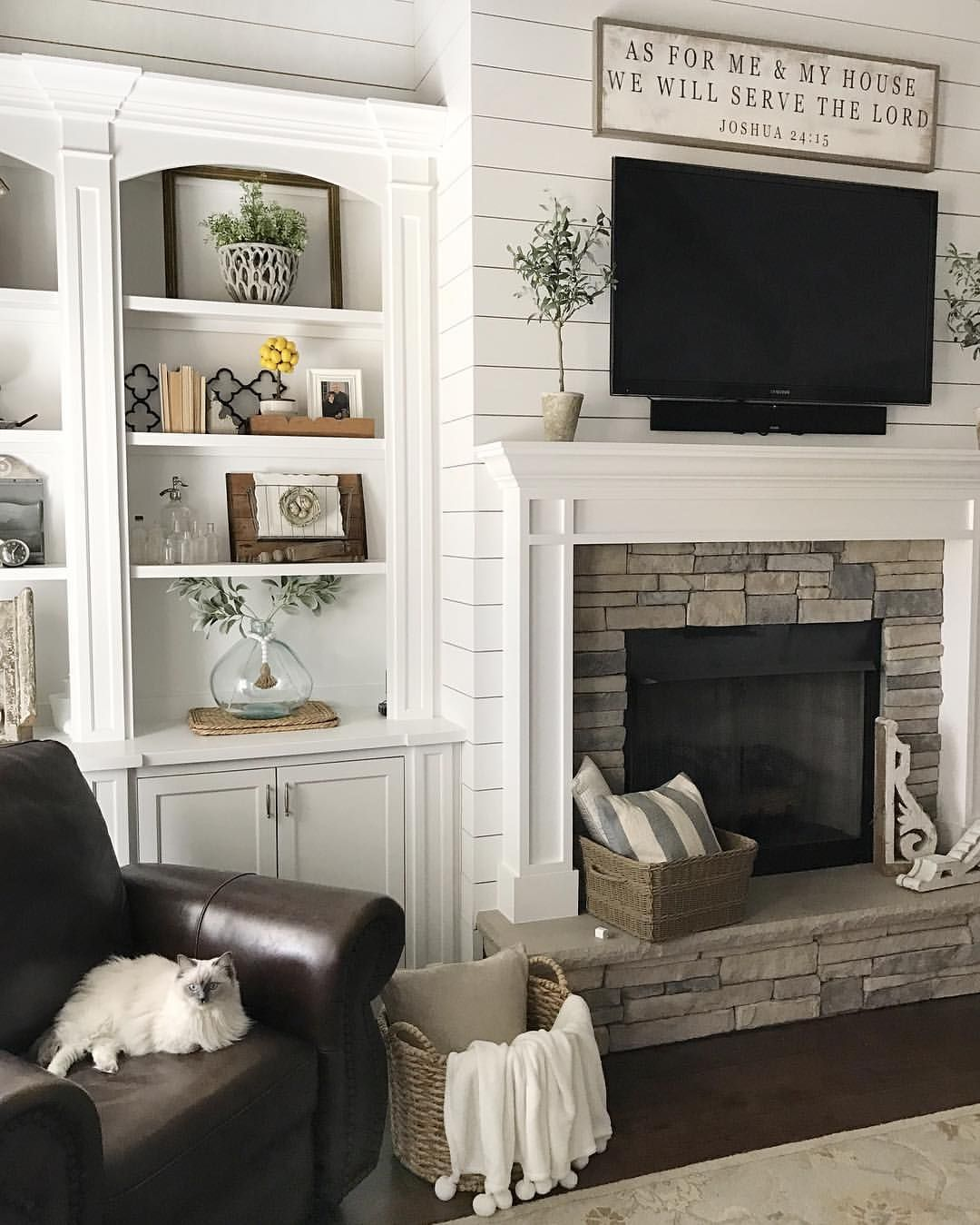 48+ Shiplap living room fireplace ideas