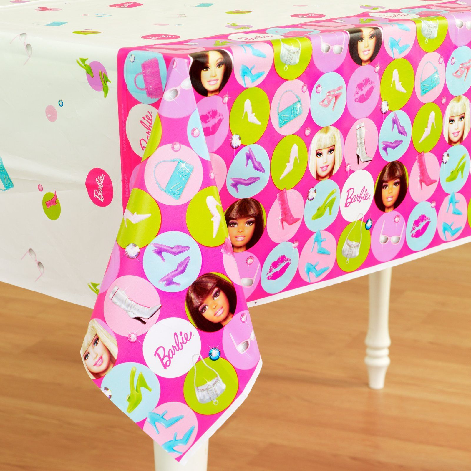 BARBIE Sparkle PLASTIC TABLE COVER ~ Birthday Party Supplies Decorations Cloth