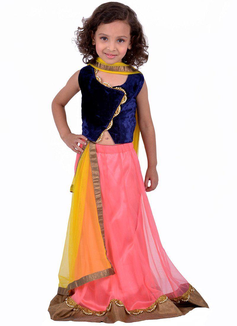K And U Pink Net Lehenga Choli