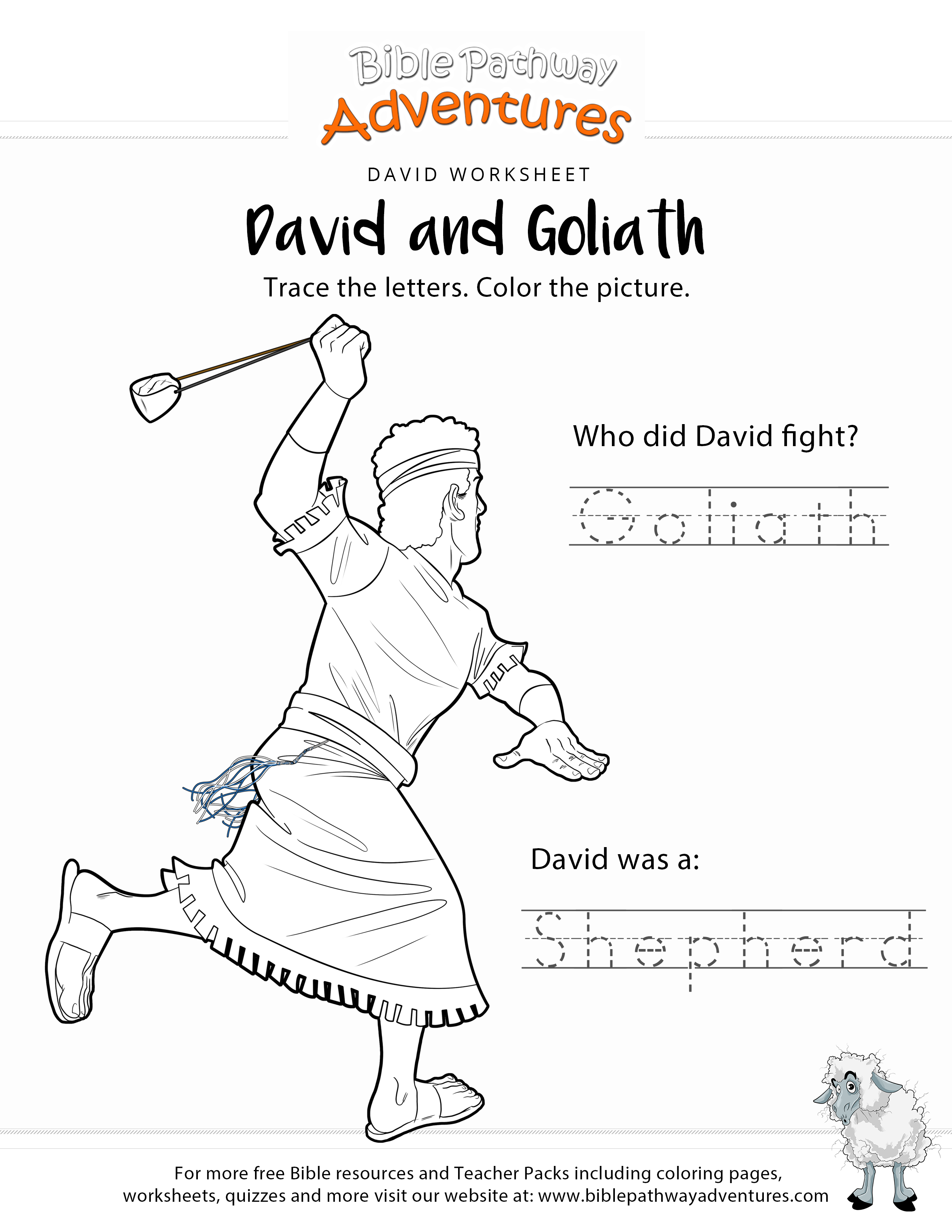 David Amp Goliath Copywork And Coloring Page