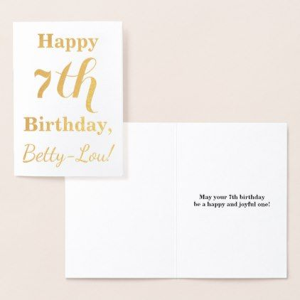 Simple Gold Foil 7th Birthday  Custom Name Foil Card - simple gifts custom gift idea customize