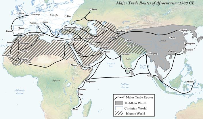 Major Trade Routes Of Afroeurasia C1300 Ce