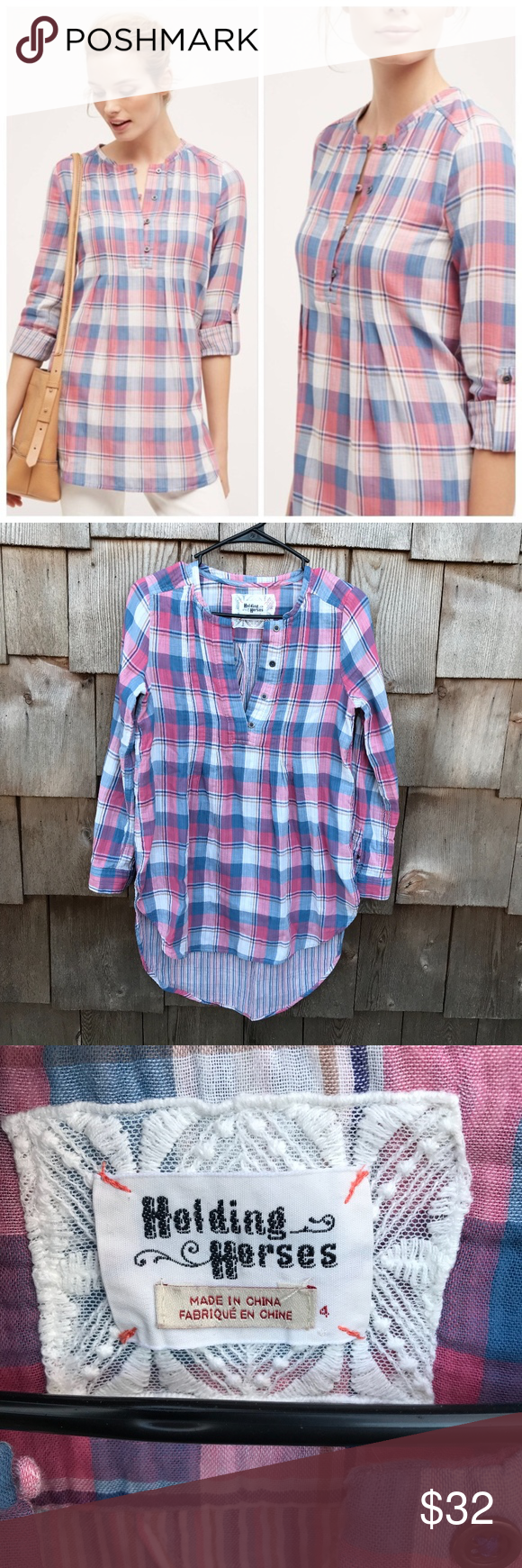 Anthropologie Holding Horses Plaid Tunic High Low