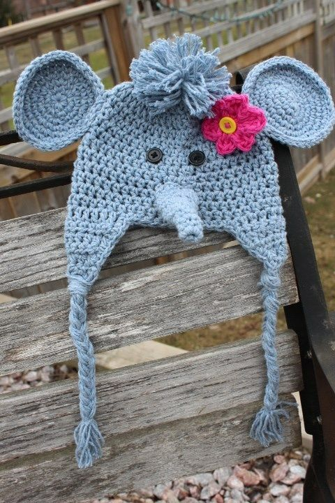 Girl elephant hat, $30. Free shipping. Made with 100% ...