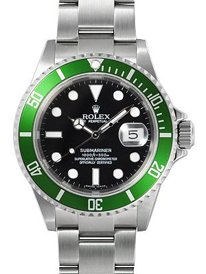 02d65cc32a3 Rolex Submariner Green Dial Mens Watch 16610LV