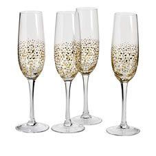 Wilko Champagne Flutes 4pk Sparkle Gold