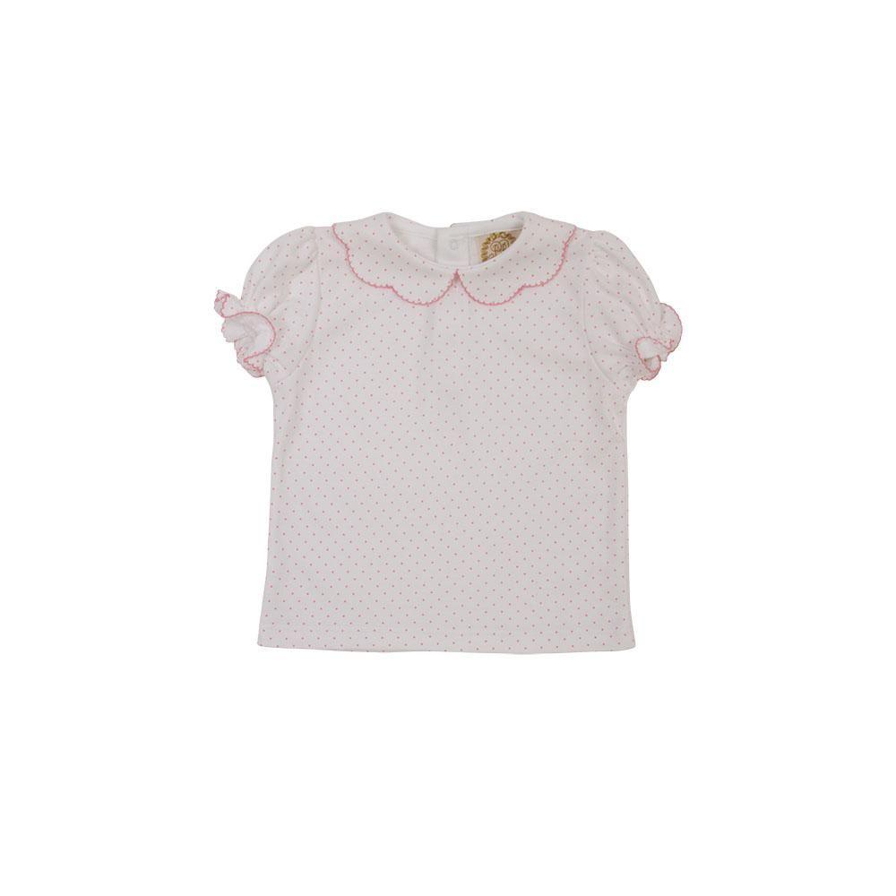 ce278c45354e Maude's Peter Pan Collar Shirt - White Short Sleeve Pima with Hamptons Hot  Pink Micro Dots