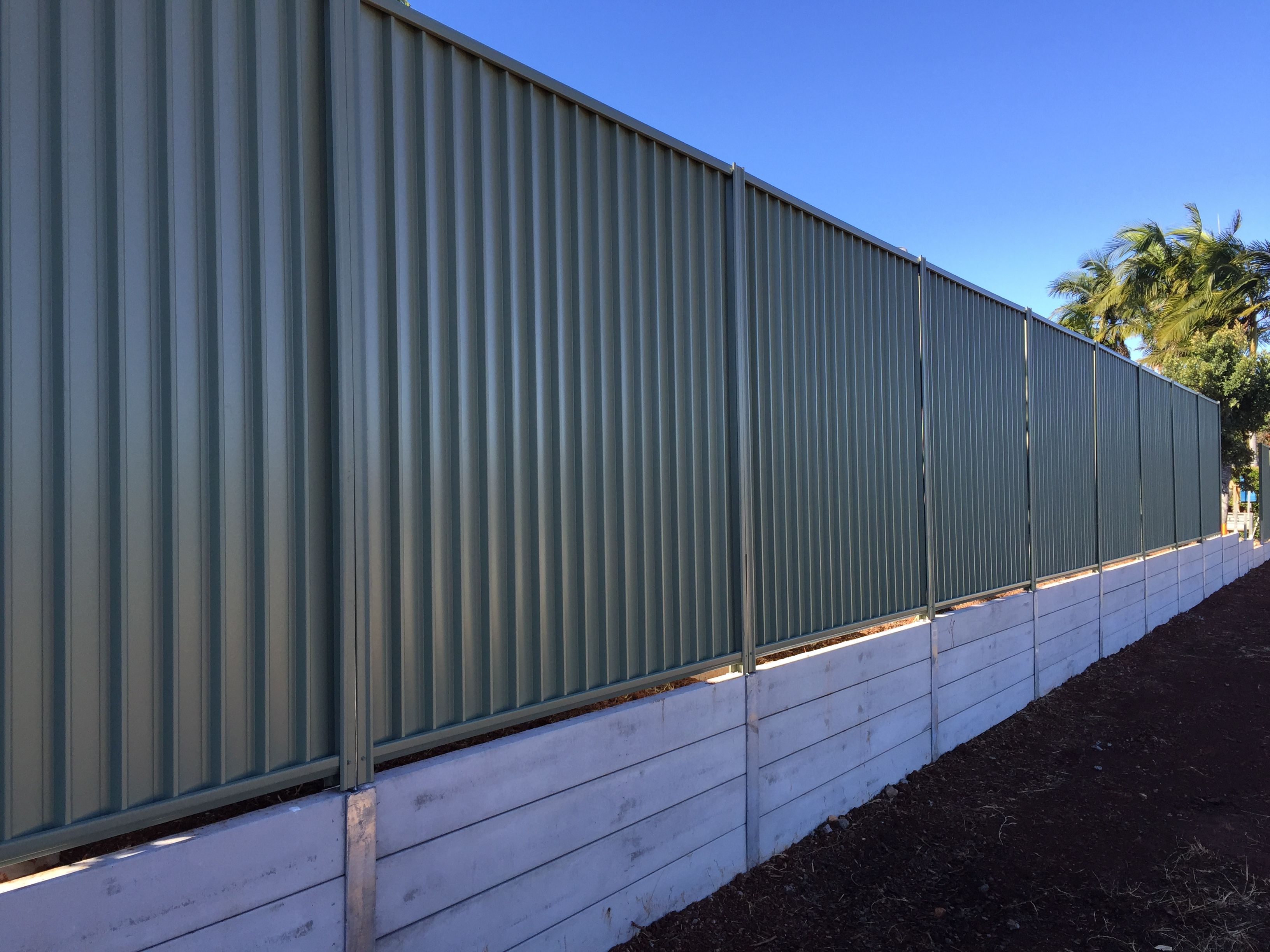 Recently Completed Northbond Colourbond Fencing And Concrete Sleeper Retaining Wall A Landscaping Retaining Walls Concrete Sleeper Retaining Walls Fence Design