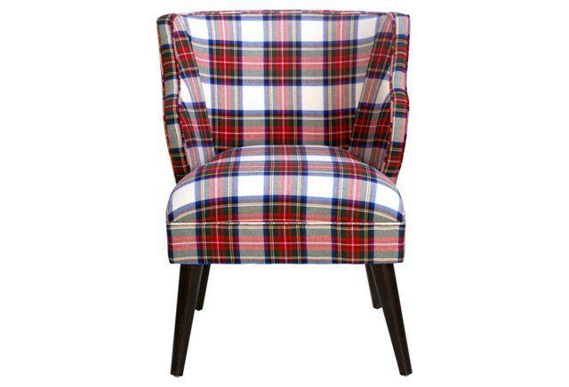 Kira Chair, Red Plaid