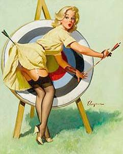 """24x30 1960/'s Elvgren Pin-Up Poster Home Repair /""""The Wrong Nail/"""""""