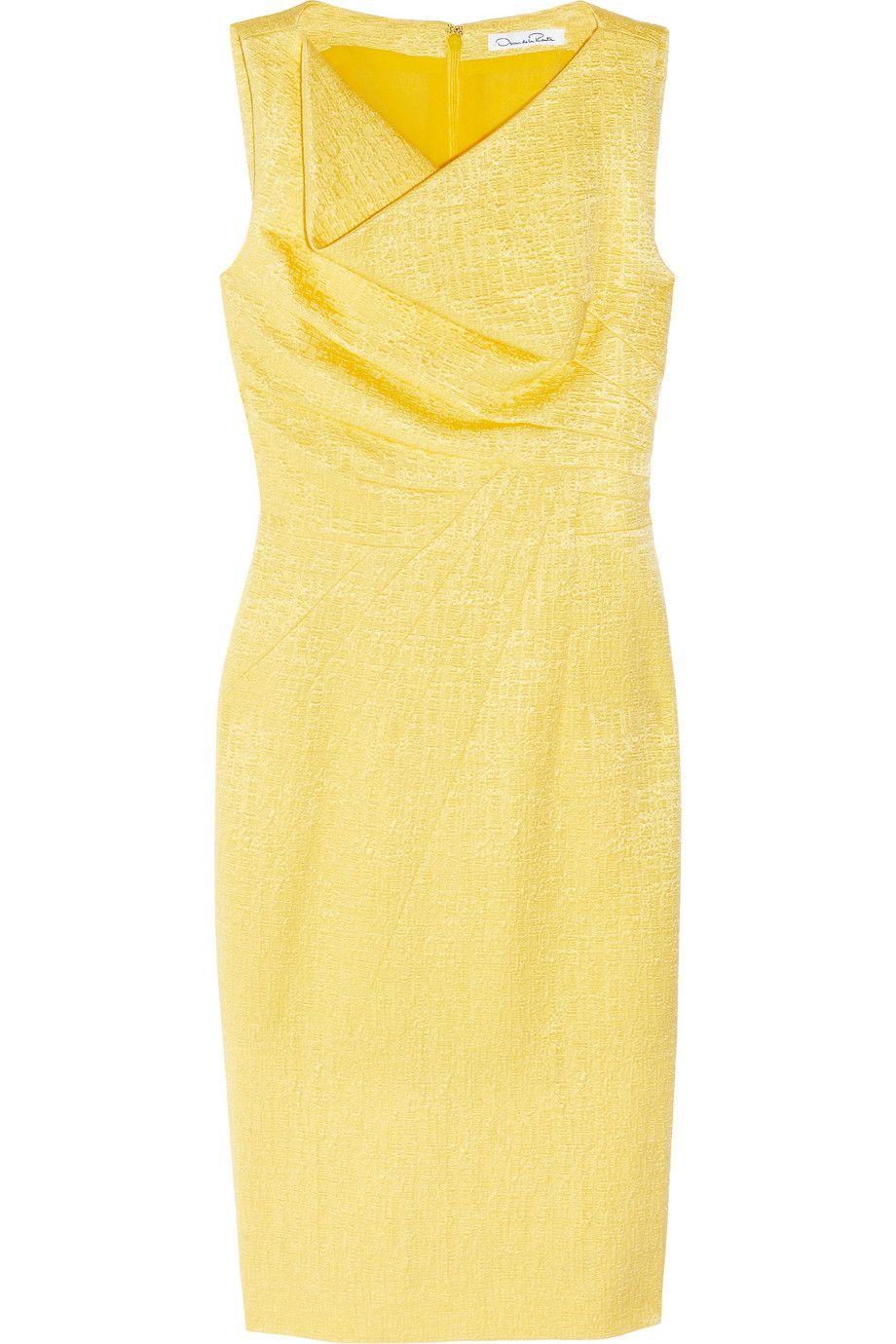 Oscar de la renta cotton and silkblend brocade dress