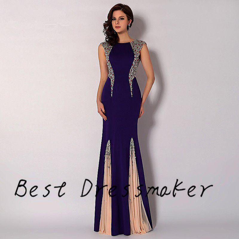 Elegante negro sirena Vestido de fiesta 2016 de lujo Diomand con
