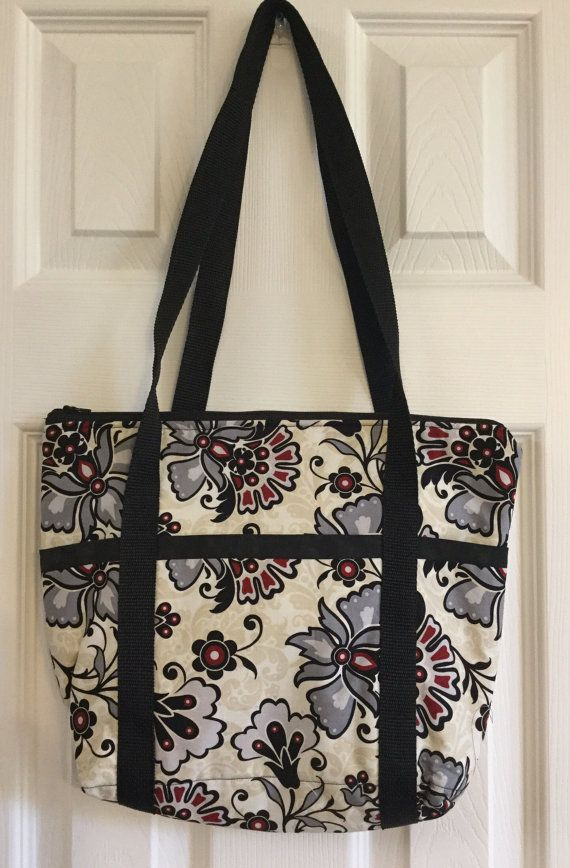 Gray Floral Zipper Tote Flower Tote Large Fabric by BagsByBetty54