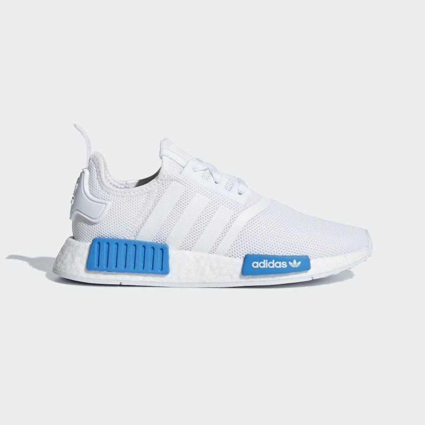 e0fc60ceb7486 NMD R1 Shoes Cloud White   Cloud White   Bright Blue AQ1785