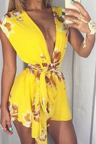 a57c324d123 Sexy Plunging Neck Sleeveless Printed Lace-Up Women s RomperJumpsuits    Rompers