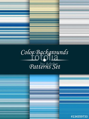 Вектор: Horizontal colorful stripes abstract background, stretched pixels effect, seamless patterns, set.