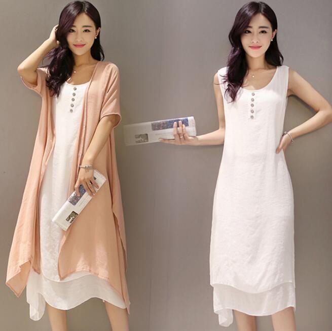 Summer Womens Sleeveless Long Ball Gown Loose Long Thin Coat Sundress 2Piece