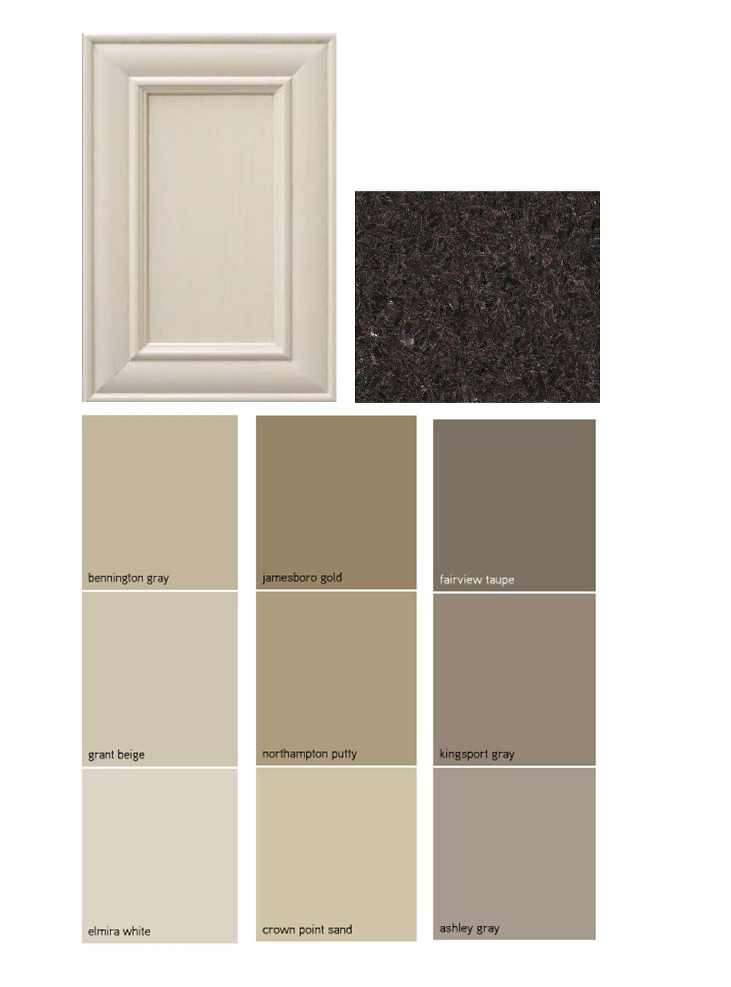 Paint palate dark granite off white cabinets for Spraying kitchen cabinets white