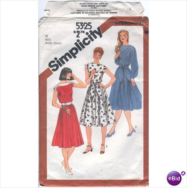 Simplicity 5325 Sewing Pattern Misses Pullover Dress in 3 Styles ...