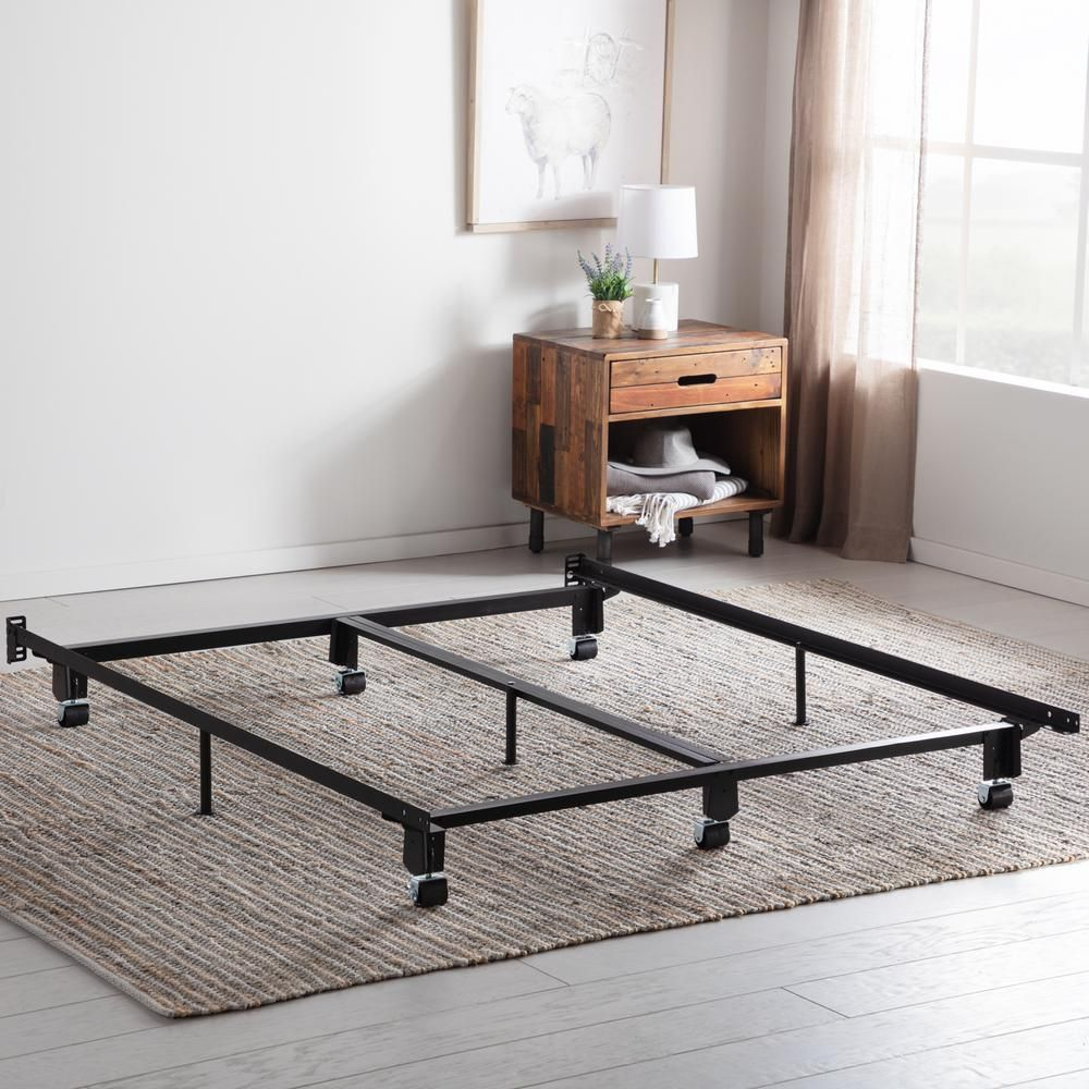 Brookside Steel Wedge Lock Metal Queen Bed Frame With Rug Rollers