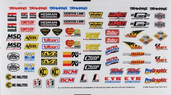 Tra2514 Sponsor Decal Sheet Decal Sheets Traxxas Vinyl Sticker Sheets