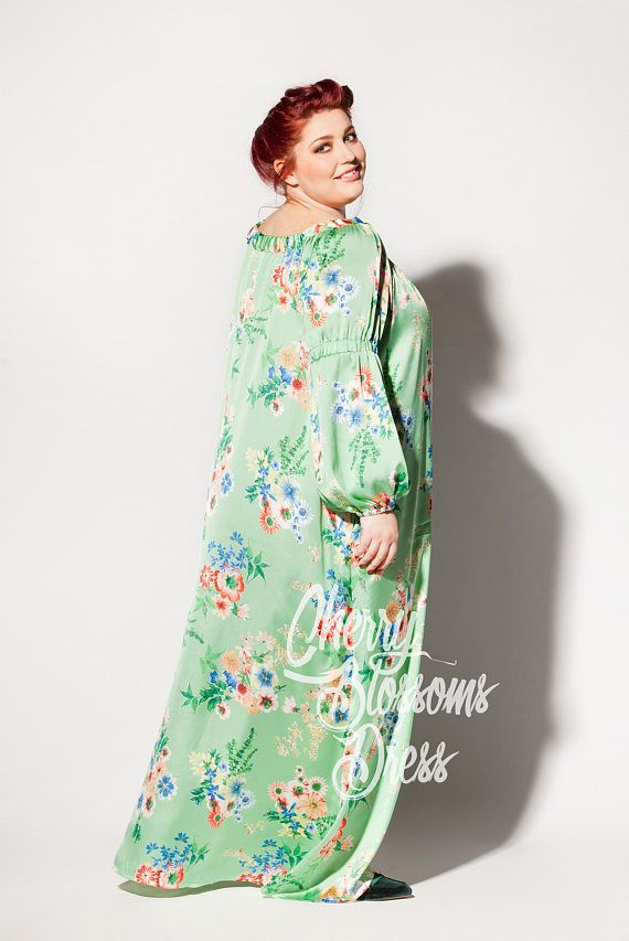 92185ac971d Green dress/ Plus size Maxi dress/ Long sleeve Maxi / Plus size dress/Plus  size clothing/Floral dress/Long sleeve dress/Boho dress/Day dress