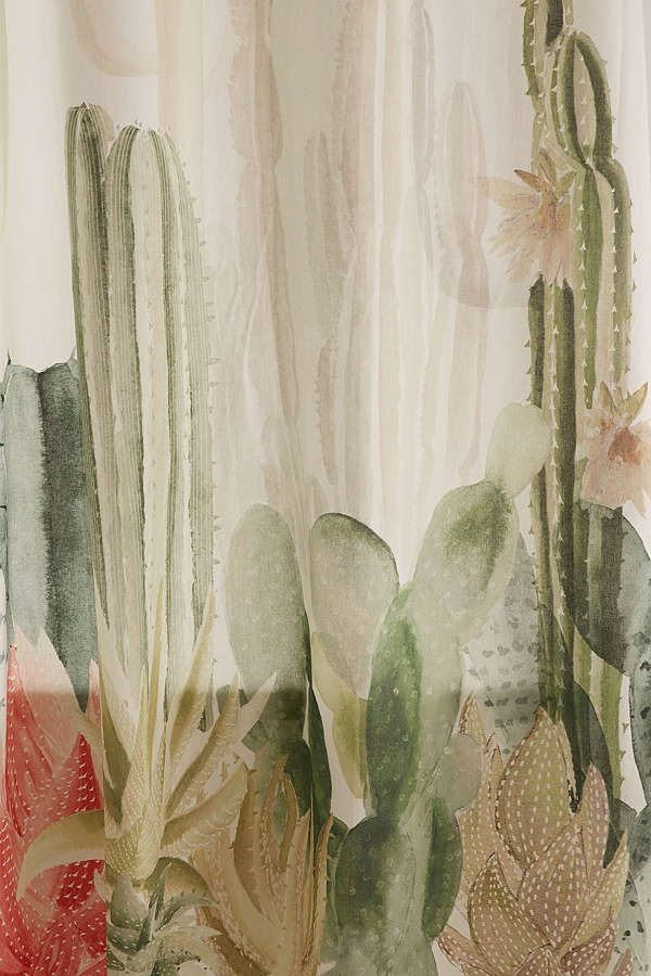 Cactus Landscape Shower Curtain Curtains Retro Home Decor