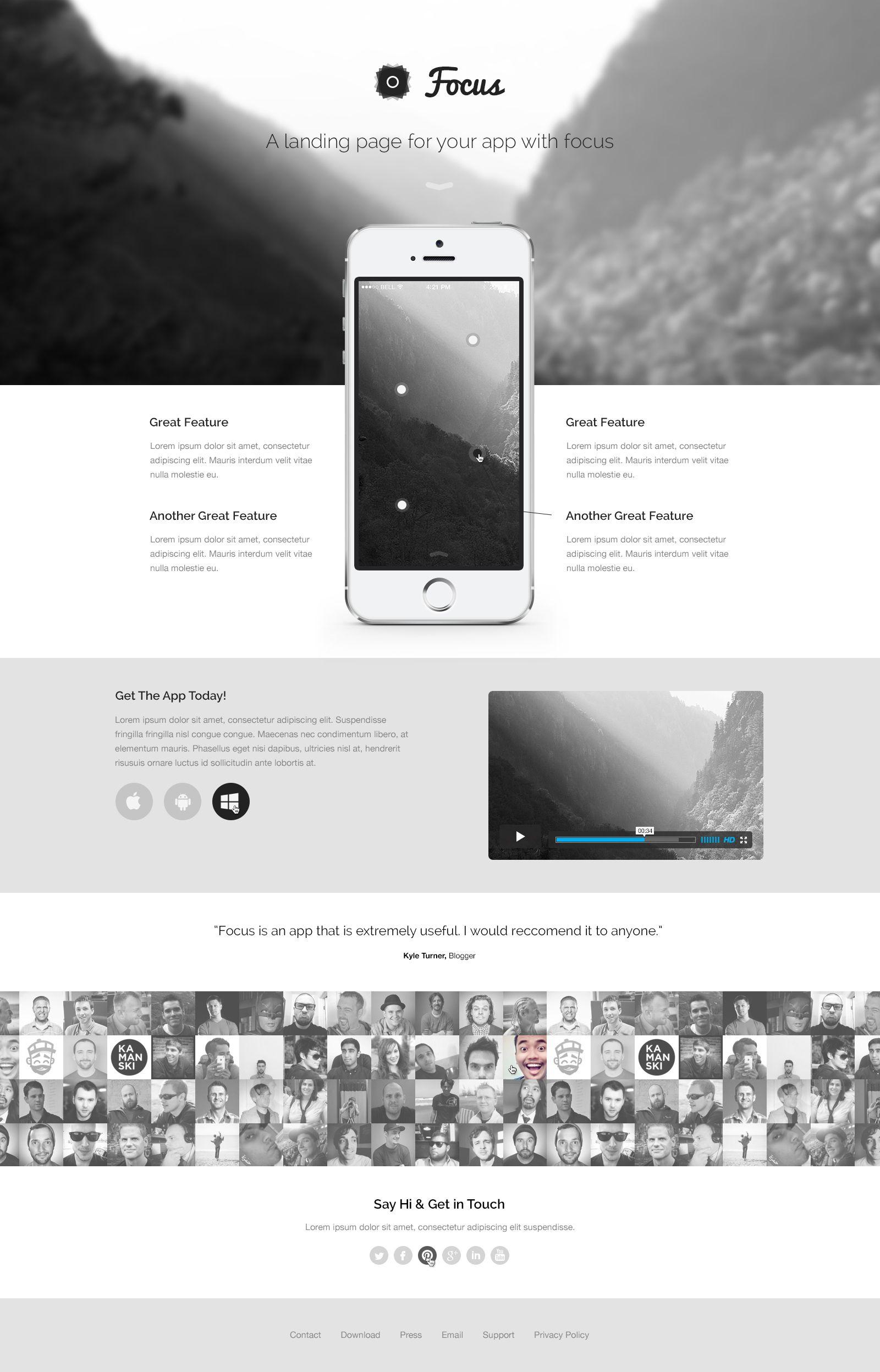 Focus PSD Theme App Landing Page Freebie | Resources | Pinterest