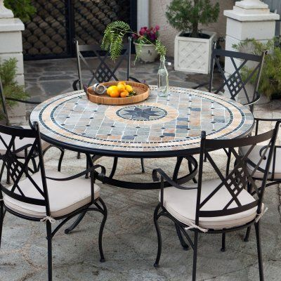 Palazetto Barcelona 60 In Round Mosaic Patio Dining Set Seats 6 By Alfresco Home Llc 2199 99 Additional Features Round Patio Table Round Outdoor Dining Table Garden Furniture Sets