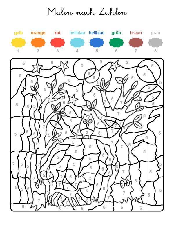 Ausmalbild Malen Nach Zahlen Fuchs Und Eule Ausmalen Kostenlos Ausdrucken Malen Nach Zahlen Kostenlose Ausmalbilder Malen Nach Zahlen Kinder