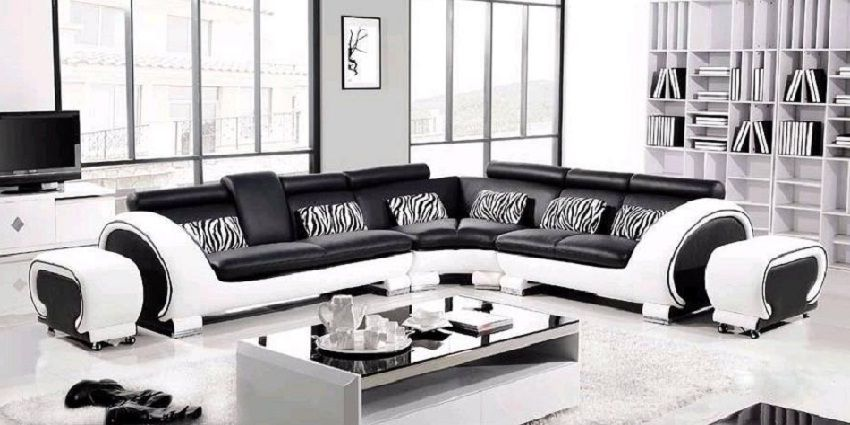 Pleasing Modern Italian Black White Corner Leather Sofa Suite In 2019 Ibusinesslaw Wood Chair Design Ideas Ibusinesslaworg
