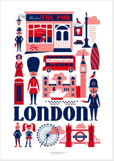 Love This Illustration On London 可愛い文字 旅行イラスト ロンドンバス イラストマップ